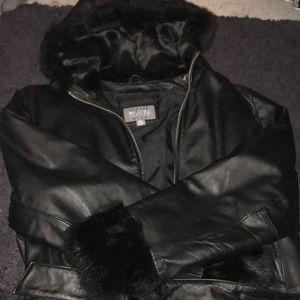 Wilson's leather | leather coat w/ fur